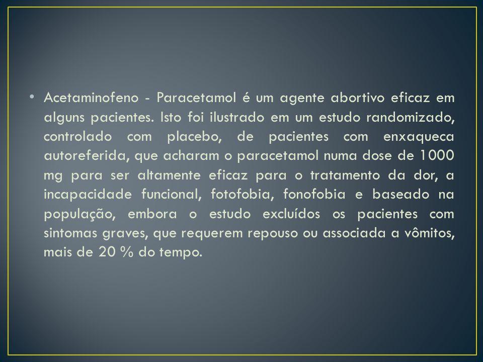 Acetaminofeno - Paracetamol é um agente abortivo eficaz em alguns pacientes.