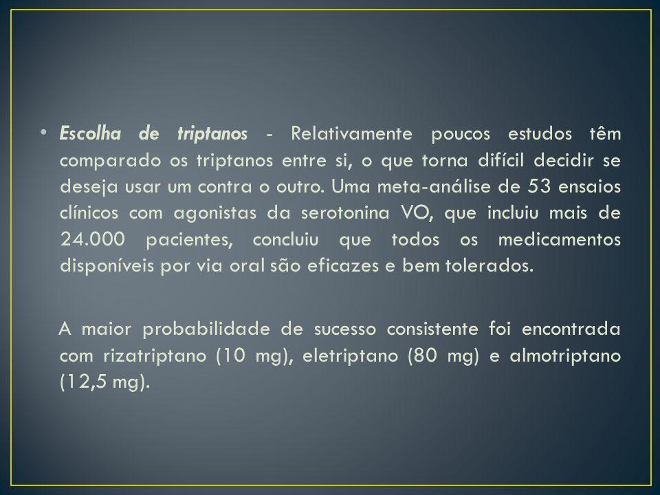 Escolha de triptanos - Relativamente poucos estudos têm comparado os triptanos entre si, o que torna difícil decidir se deseja usar um contra o outro. Uma meta-análise de 53 ensaios clínicos com agonistas da serotonina VO, que incluiu mais de 24.000 pacientes, concluiu que todos os medicamentos disponíveis por via oral são eficazes e bem tolerados.