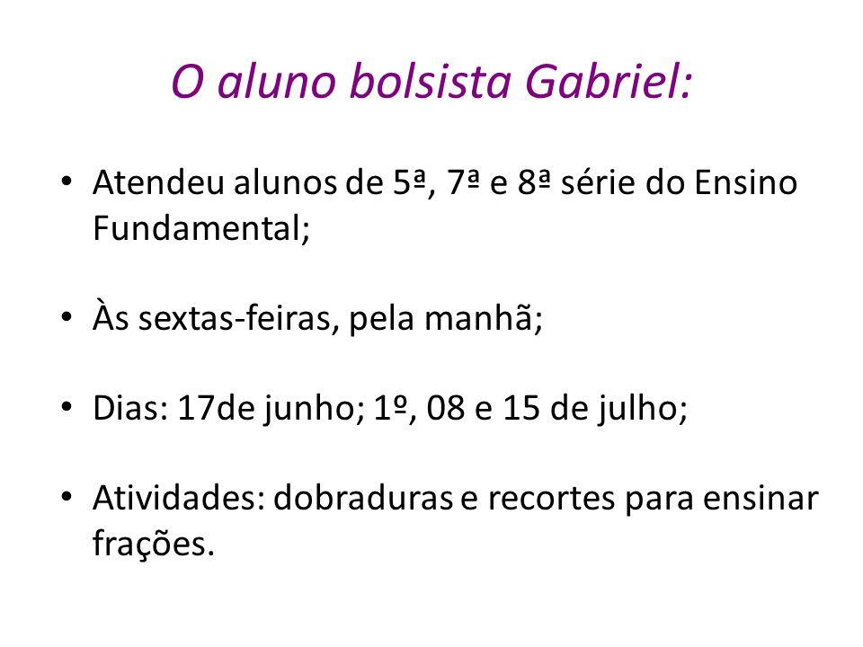 O aluno bolsista Gabriel: