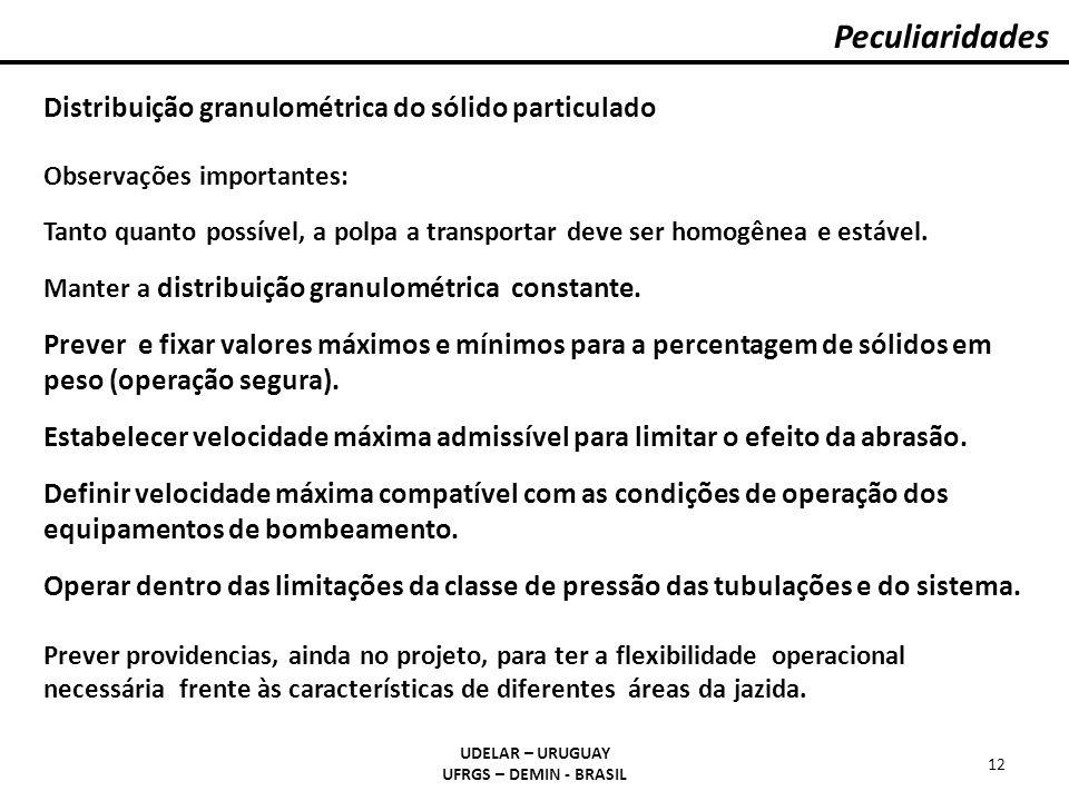 Peculiaridades Distribuição granulométrica do sólido particulado