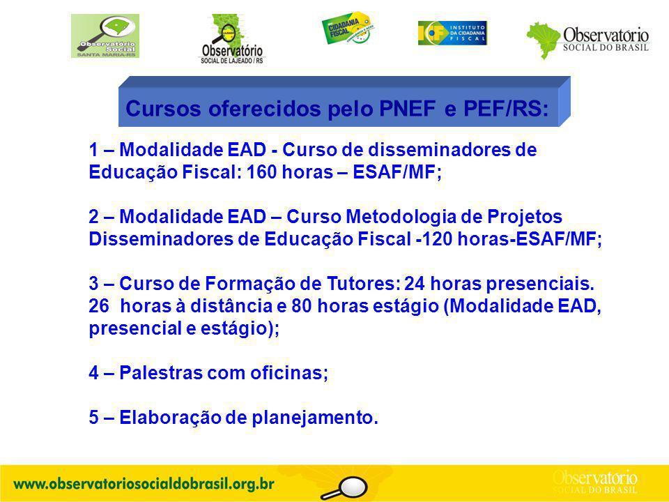 Cursos oferecidos pelo PNEF e PEF/RS: