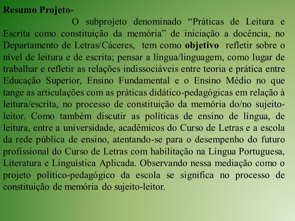 Resumo Projeto-
