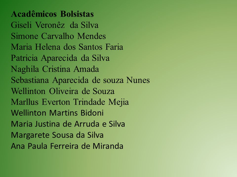 Acadêmicos Bolsistas Giseli Veronêz da Silva. Simone Carvalho Mendes. Maria Helena dos Santos Faria.
