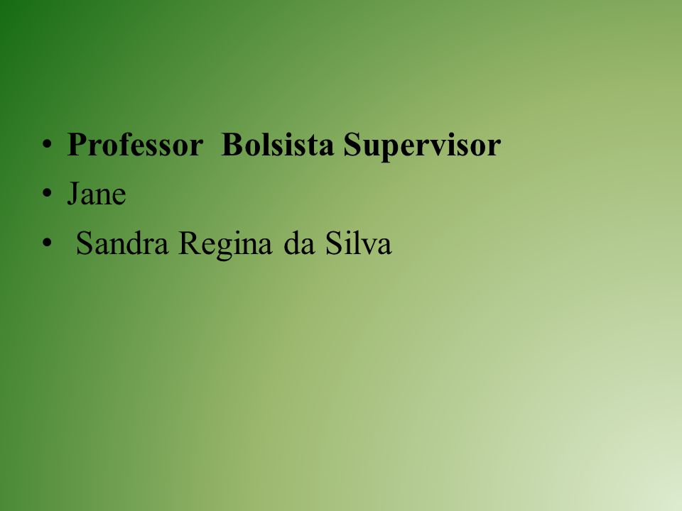 Professor Bolsista Supervisor