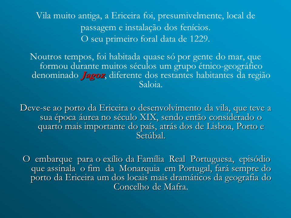 Vila muito antiga, a Ericeira foi, presumivelmente, local de passagem e instalação dos fenícios. O seu primeiro foral data de 1229.