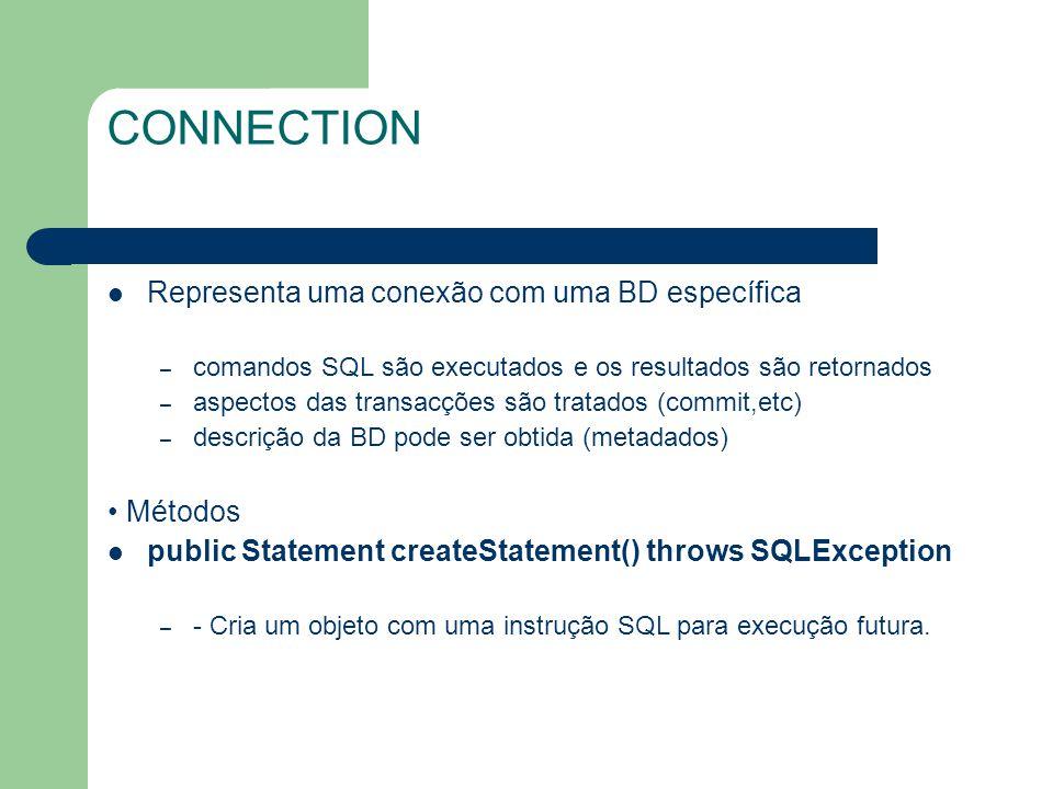 CONNECTION Representa uma conexão com uma BD específica • Métodos