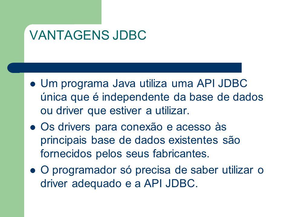 VANTAGENS JDBC Um programa Java utiliza uma API JDBC única que é independente da base de dados ou driver que estiver a utilizar.