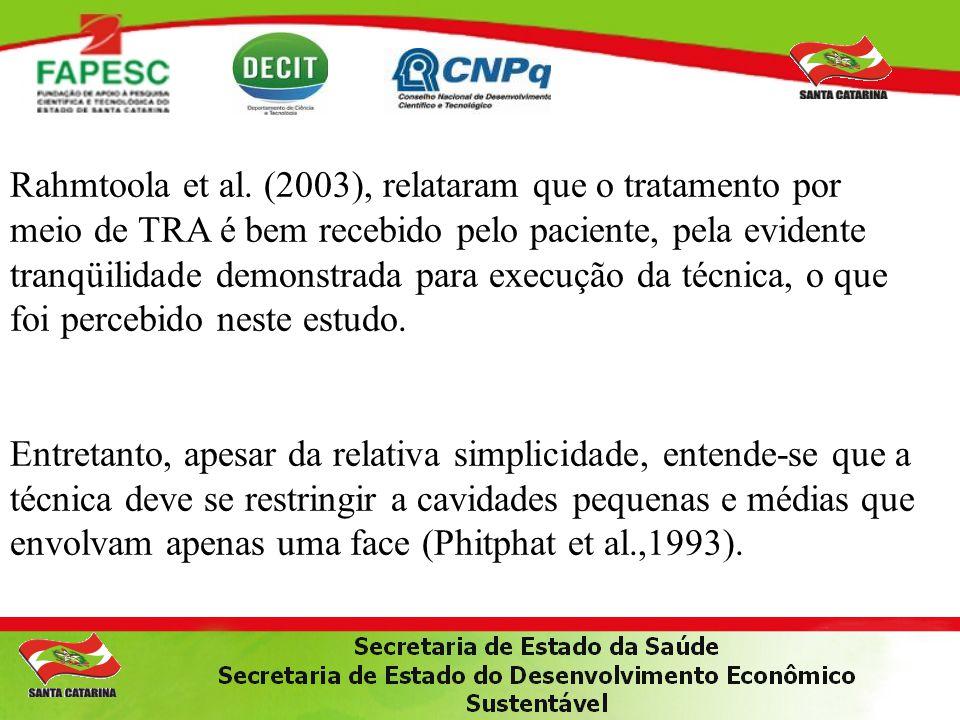 Rahmtoola et al. (2003), relataram que o tratamento por meio de TRA é bem recebido pelo paciente, pela evidente tranqüilidade demonstrada para execução da técnica, o que foi percebido neste estudo.