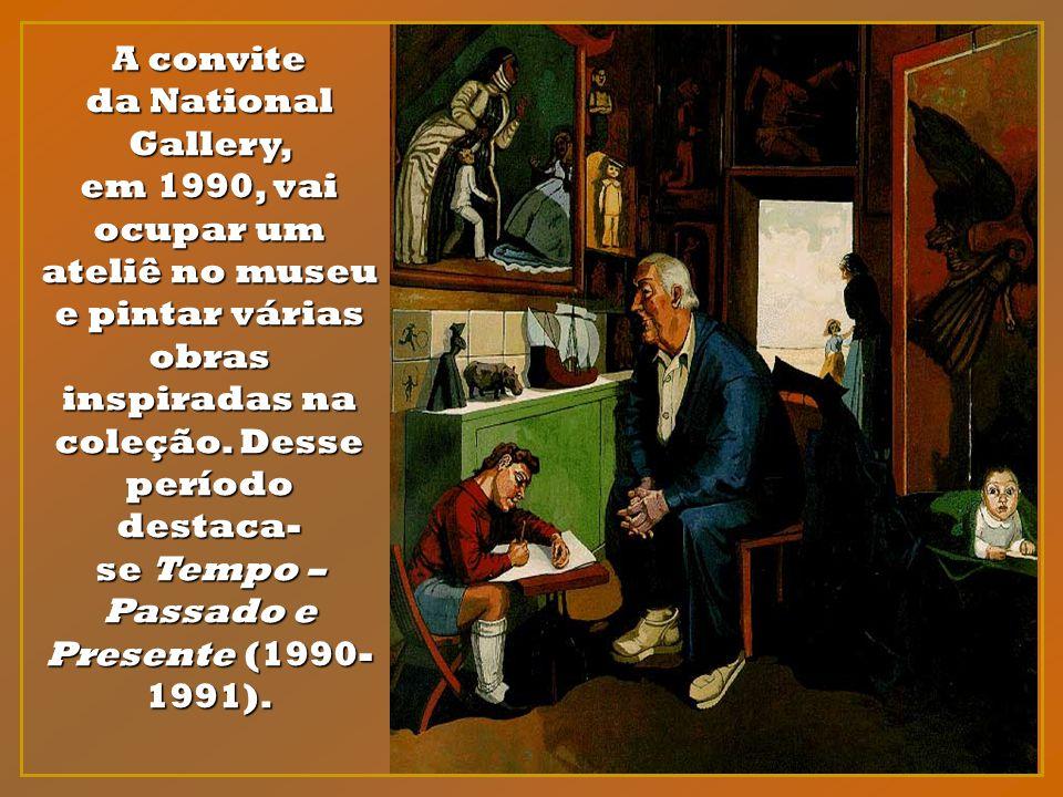 A convite da National Gallery, em 1990, vai ocupar um ateliê no museu e pintar várias obras inspiradas na coleção.