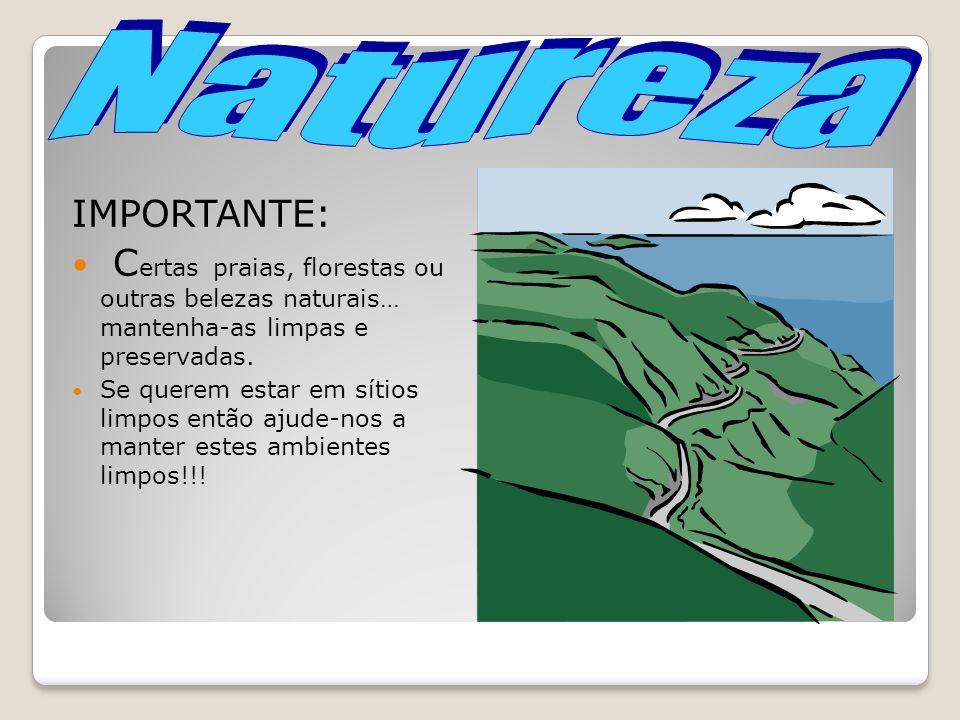 Natureza IMPORTANTE: Certas praias, florestas ou outras belezas naturais… mantenha-as limpas e preservadas.