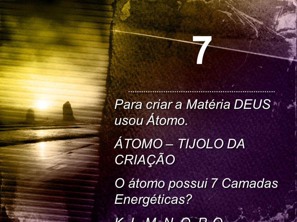 7 Para criar a Matéria DEUS usou Átomo. ÁTOMO – TIJOLO DA CRIAÇÃO