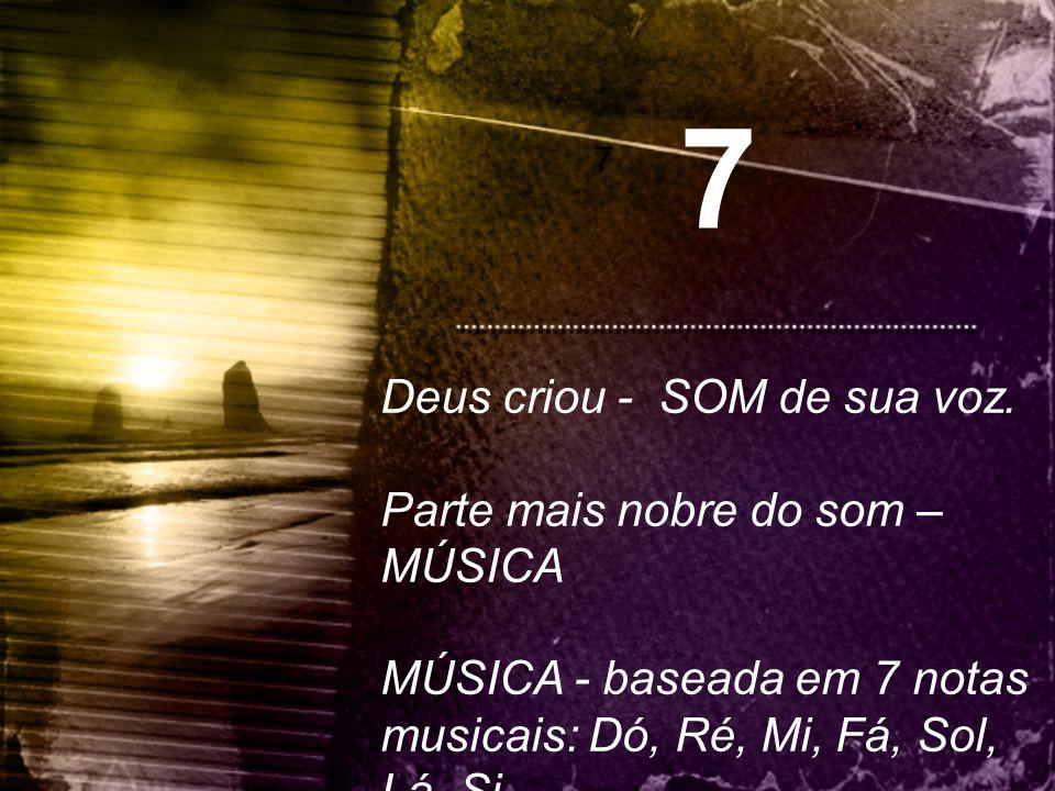 7 Deus criou - SOM de sua voz. Parte mais nobre do som – MÚSICA