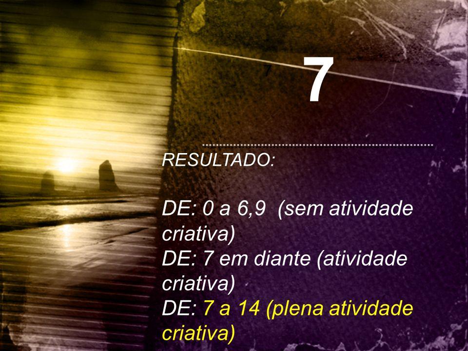 7 DE: 0 a 6,9 (sem atividade criativa)