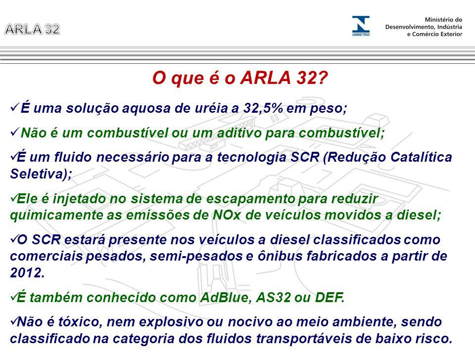 O que é o ARLA 32 É uma solução aquosa de uréia a 32,5% em peso;