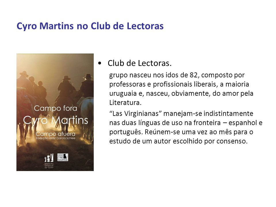 Cyro Martins no Club de Lectoras