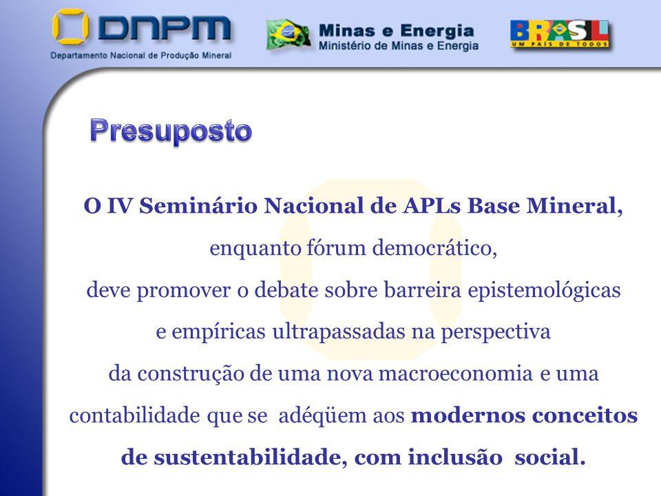 Presuposto O IV Seminário Nacional de APLs Base Mineral,
