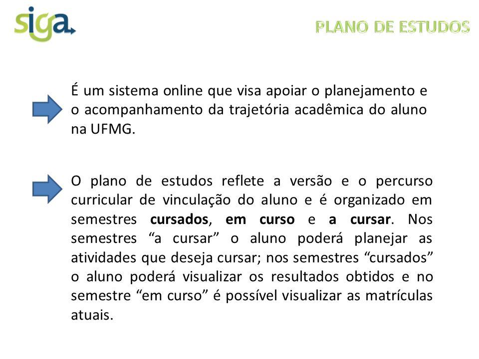 PLANO DE ESTUDOS É um sistema online que visa apoiar o planejamento e o acompanhamento da trajetória acadêmica do aluno na UFMG.