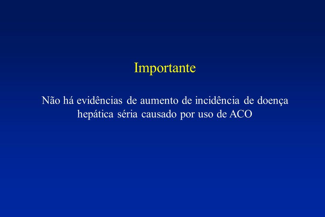 Importante Não há evidências de aumento de incidência de doença hepática séria causado por uso de ACO.
