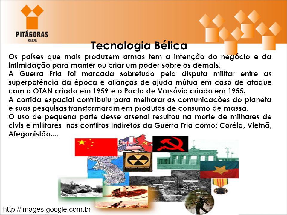 Tecnologia Bélica Os países que mais produzem armas tem a intenção do negócio e da intimidação para manter ou criar um poder sobre os demais.
