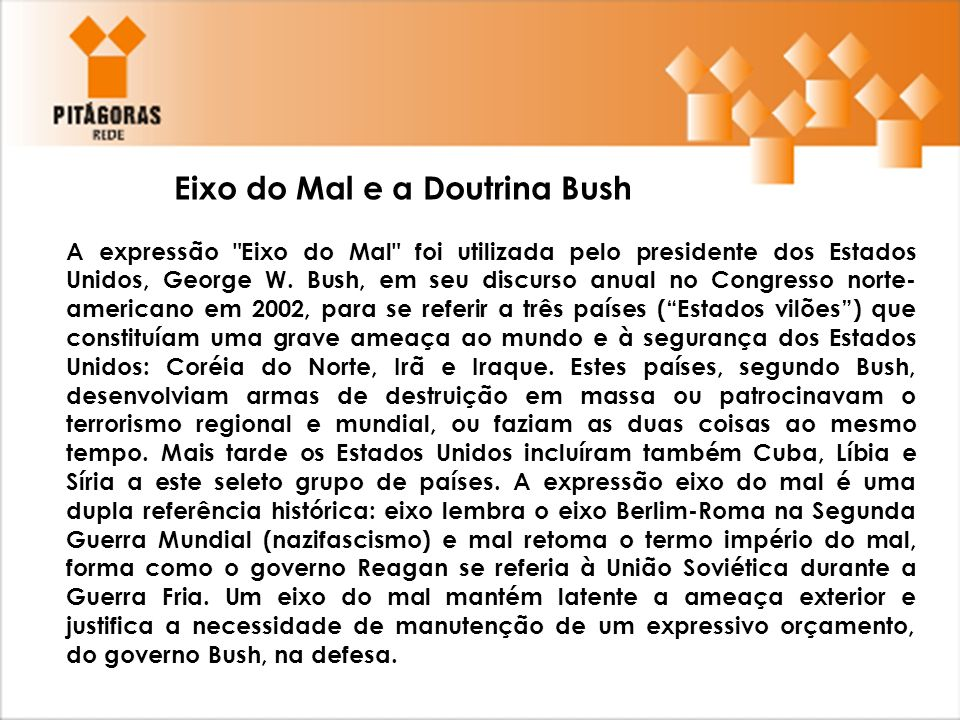 Eixo do Mal e a Doutrina Bush