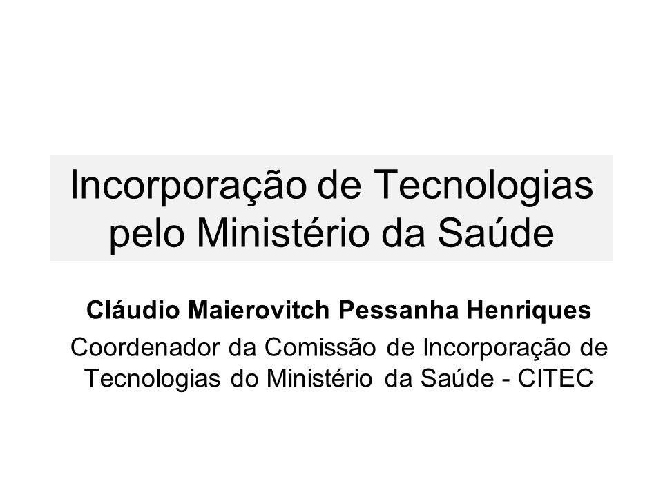 Incorporação de Tecnologias pelo Ministério da Saúde