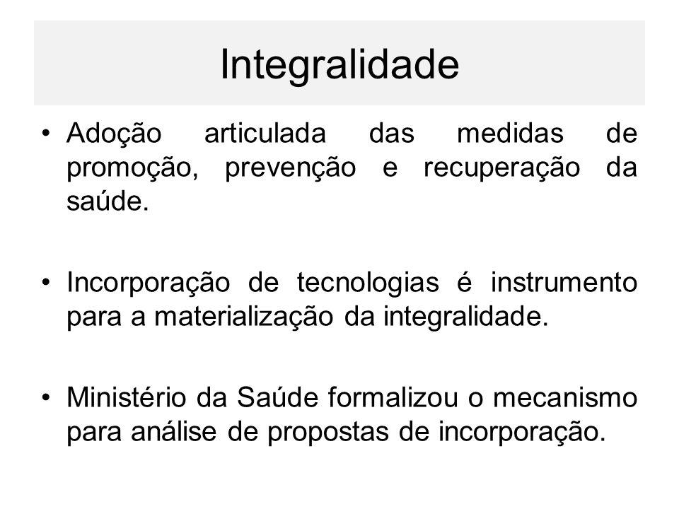 Integralidade Adoção articulada das medidas de promoção, prevenção e recuperação da saúde.