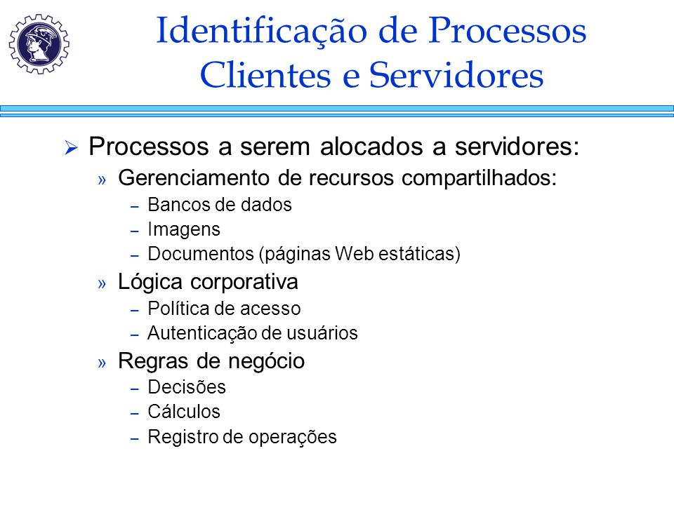 Identificação de Processos Clientes e Servidores