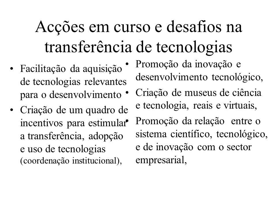 Acções em curso e desafios na transferência de tecnologias