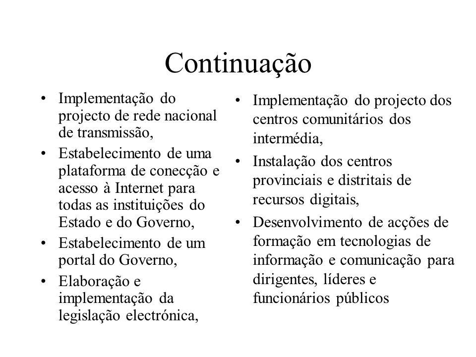 Continuação Implementação do projecto de rede nacional de transmissão,