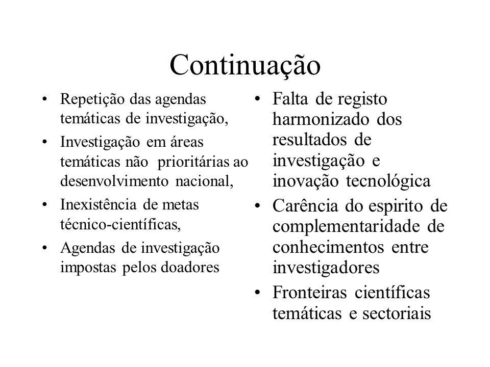 Continuação Repetição das agendas temáticas de investigação, Investigação em áreas temáticas não prioritárias ao desenvolvimento nacional,
