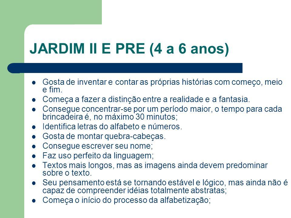 JARDIM II E PRE (4 a 6 anos) Gosta de inventar e contar as próprias histórias com começo, meio e fim.