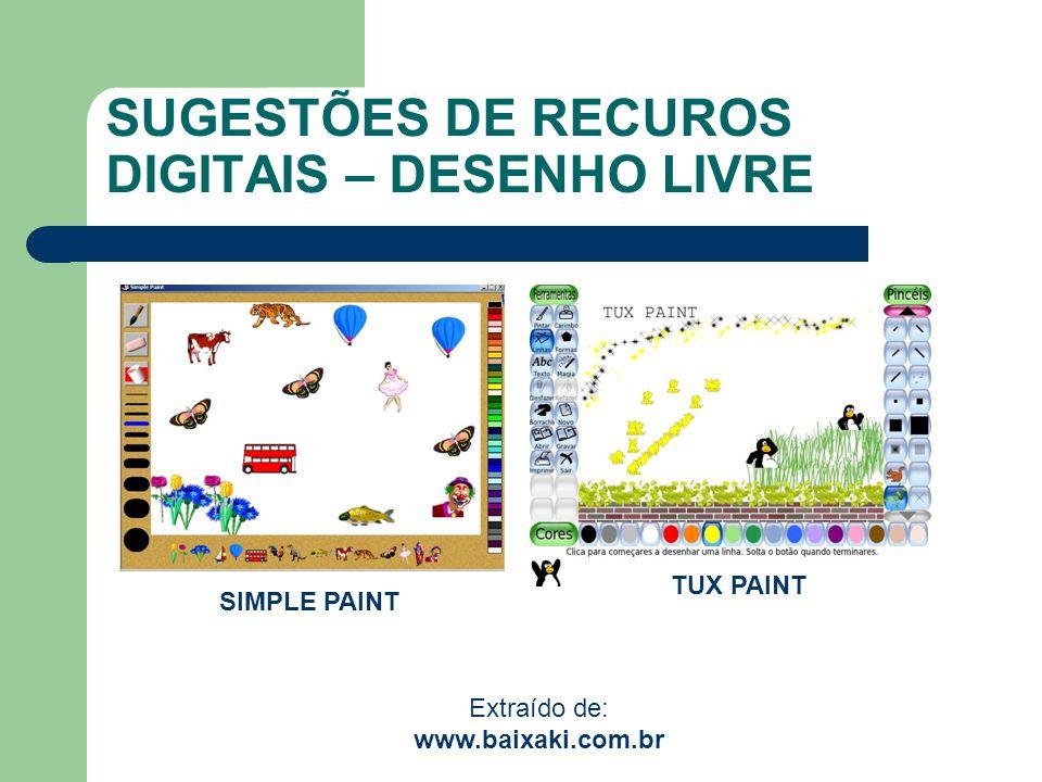SUGESTÕES DE RECUROS DIGITAIS – DESENHO LIVRE