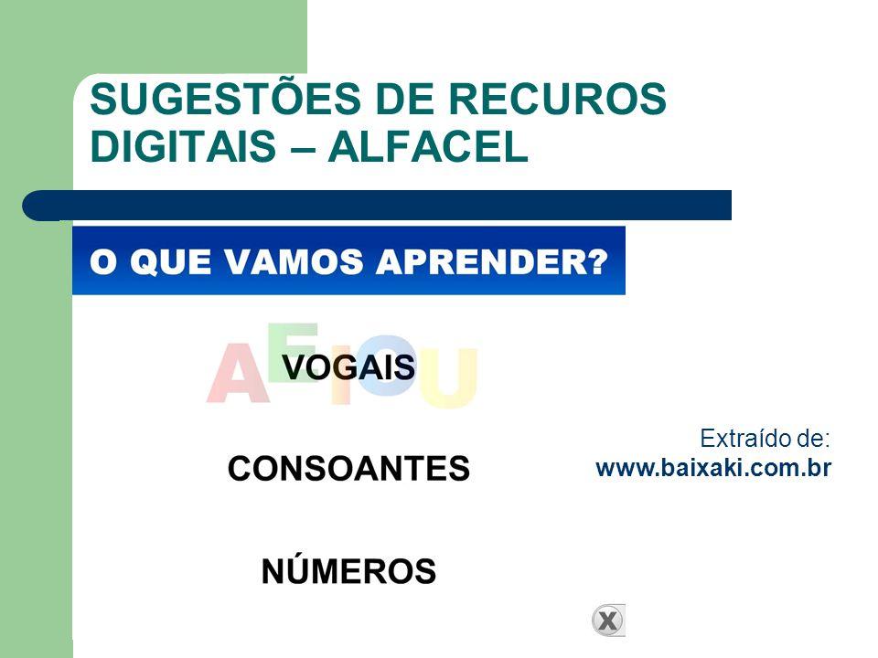 SUGESTÕES DE RECUROS DIGITAIS – ALFACEL
