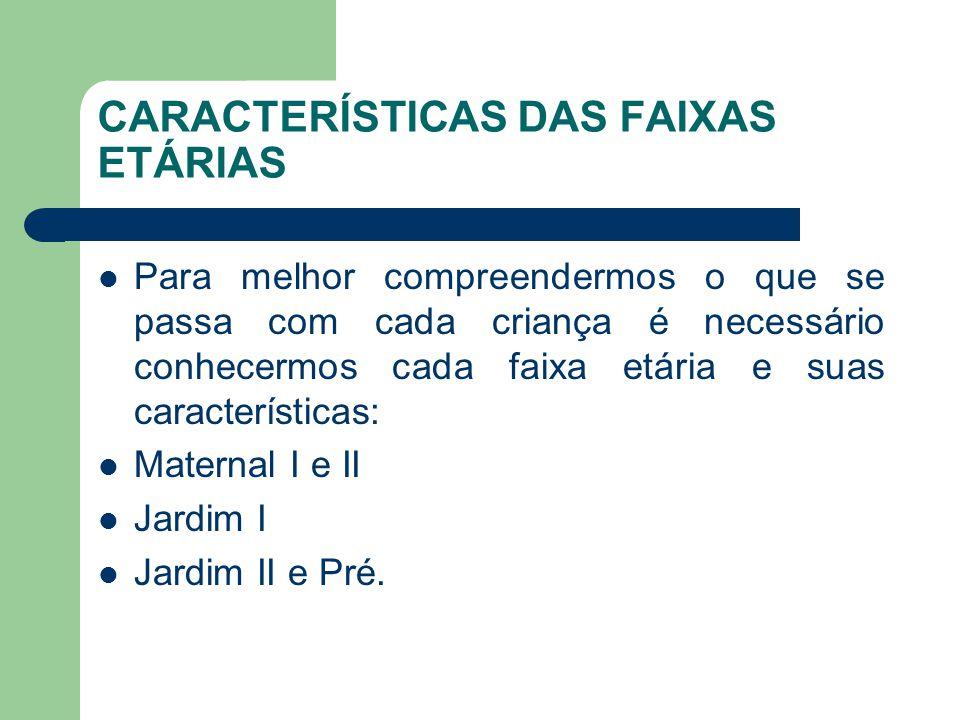 CARACTERÍSTICAS DAS FAIXAS ETÁRIAS