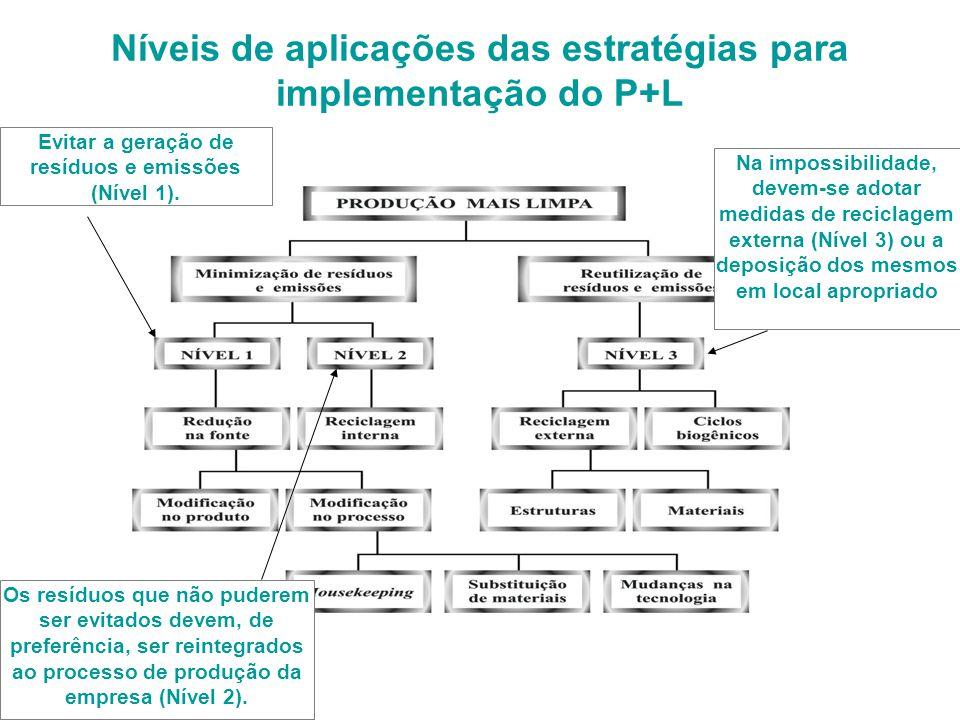 Níveis de aplicações das estratégias para implementação do P+L