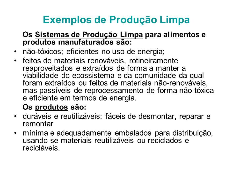 Exemplos de Produção Limpa