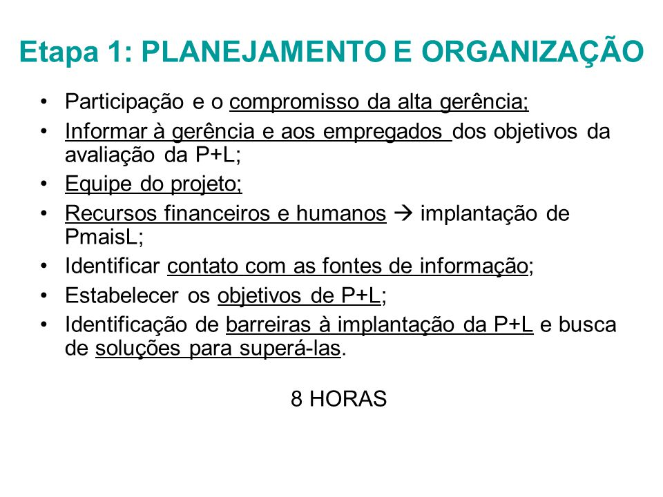 Etapa 1: PLANEJAMENTO E ORGANIZAÇÃO