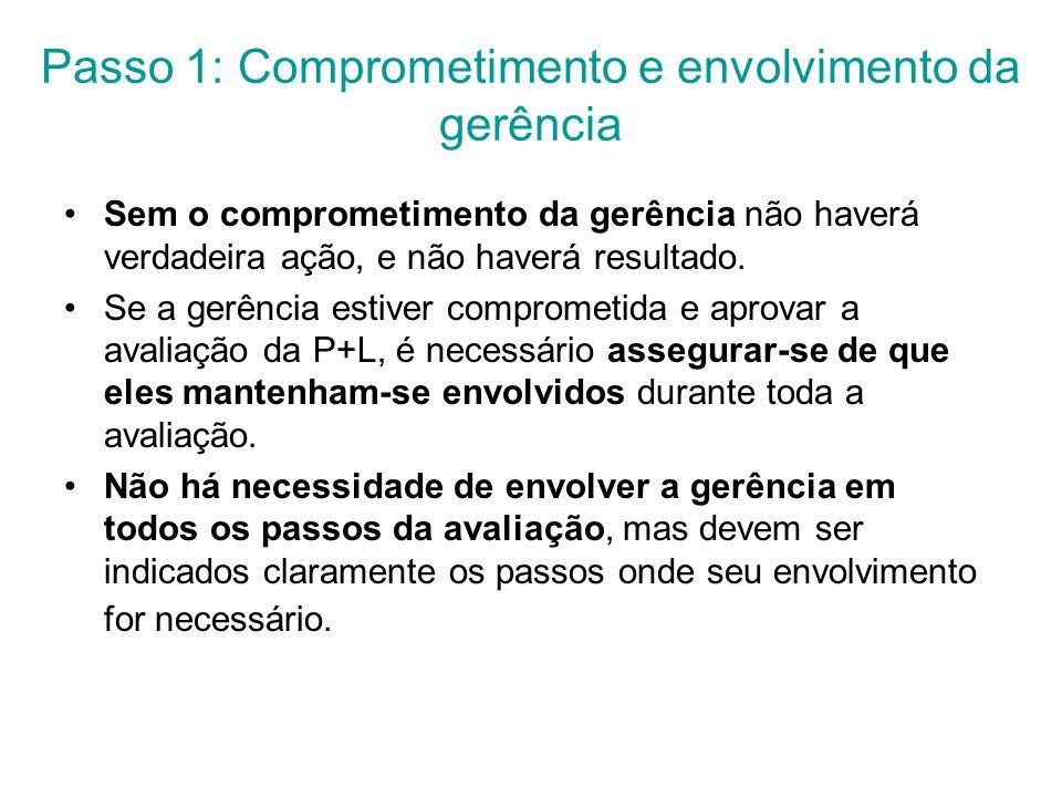 Passo 1: Comprometimento e envolvimento da gerência