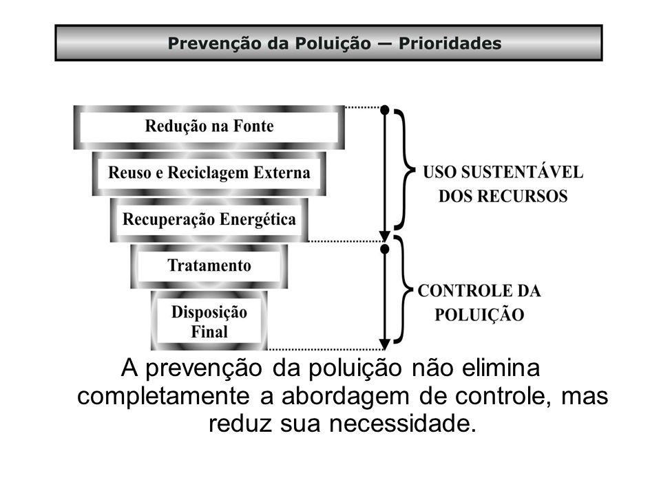 A prevenção da poluição não elimina completamente a abordagem de controle, mas reduz sua necessidade.