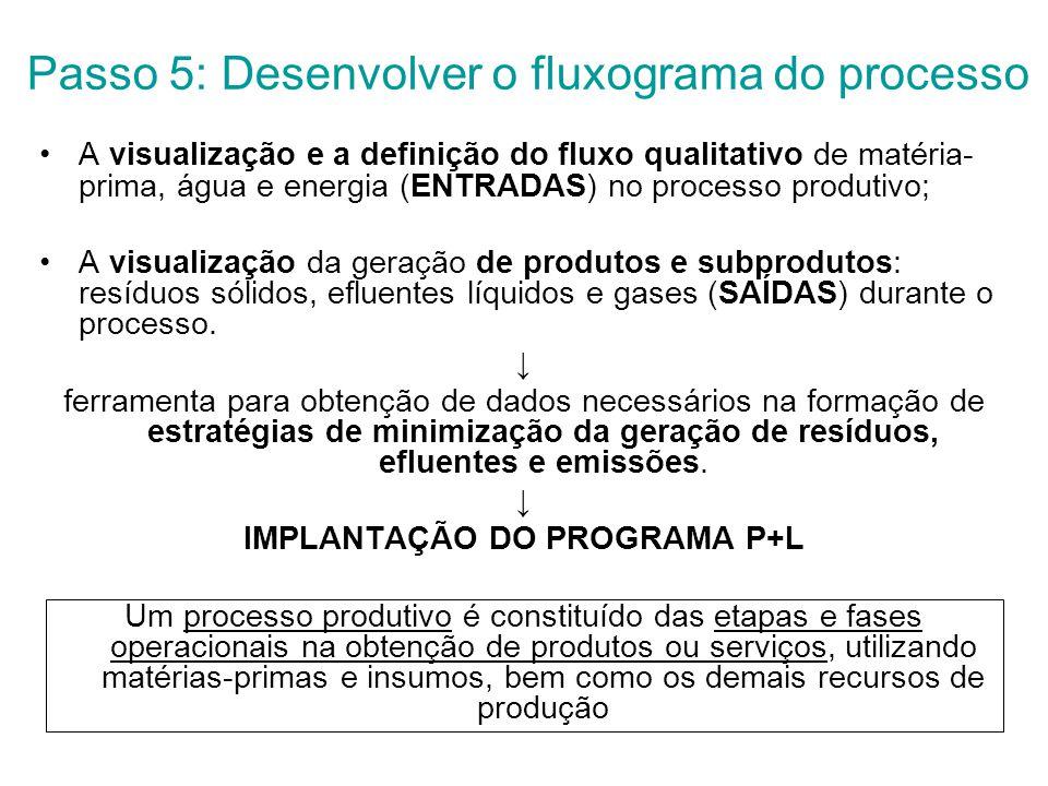 Passo 5: Desenvolver o fluxograma do processo