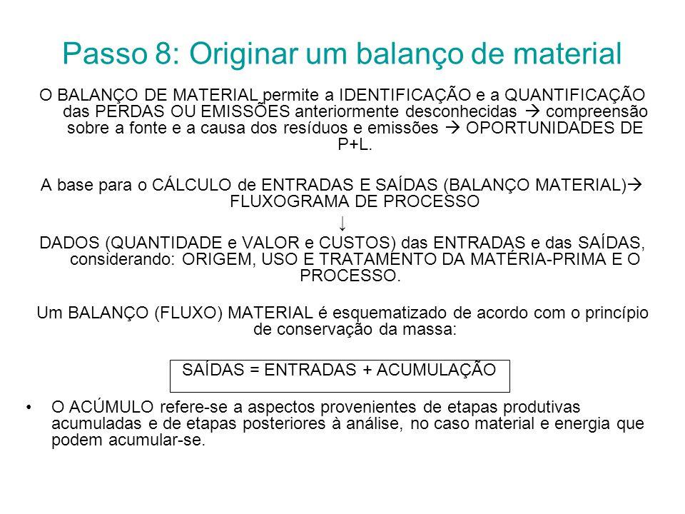 Passo 8: Originar um balanço de material
