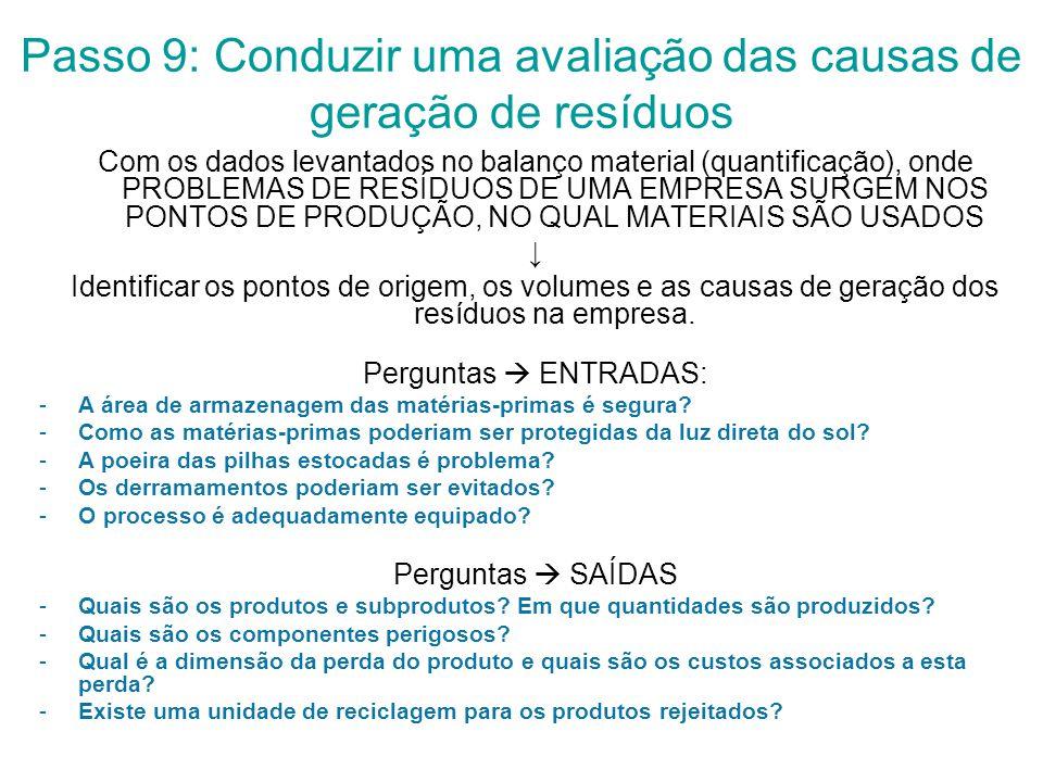 Passo 9: Conduzir uma avaliação das causas de geração de resíduos