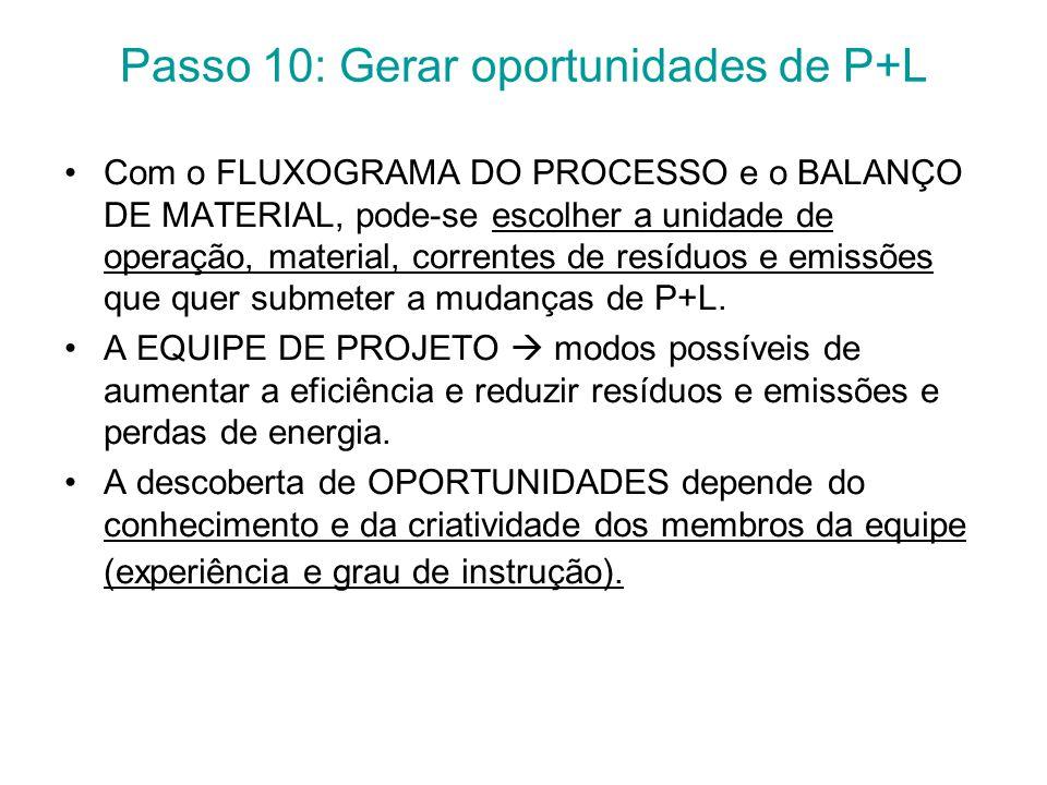 Passo 10: Gerar oportunidades de P+L