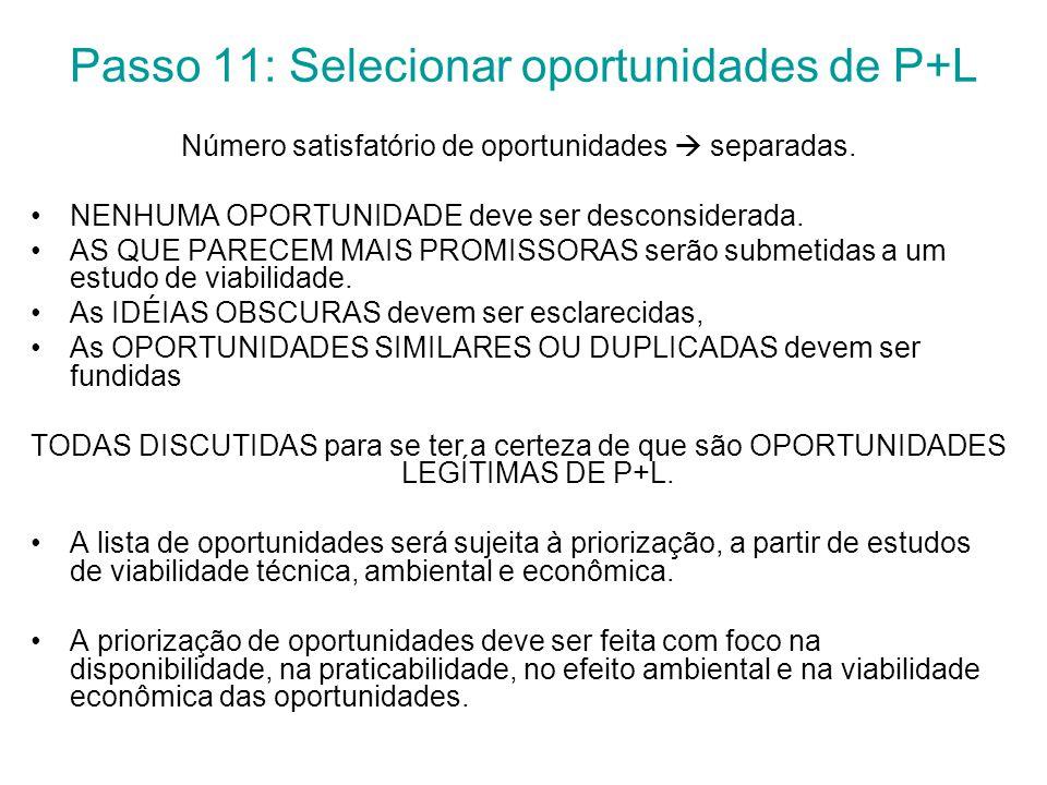 Passo 11: Selecionar oportunidades de P+L