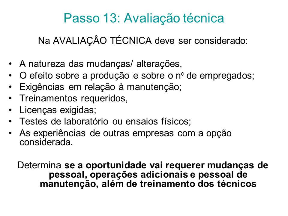 Passo 13: Avaliação técnica