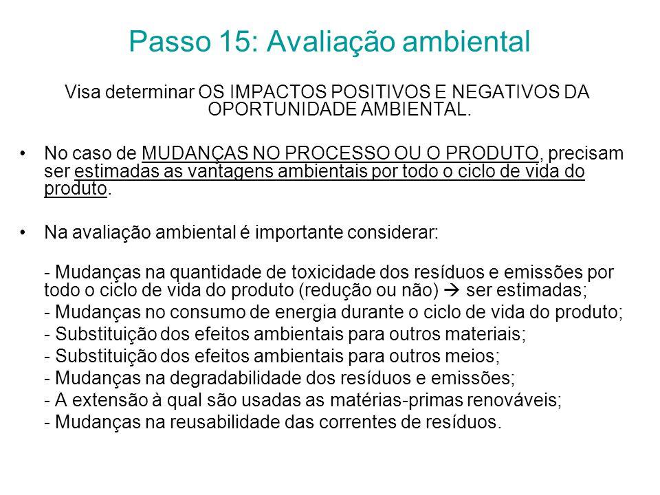 Passo 15: Avaliação ambiental