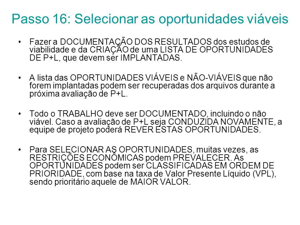 Passo 16: Selecionar as oportunidades viáveis