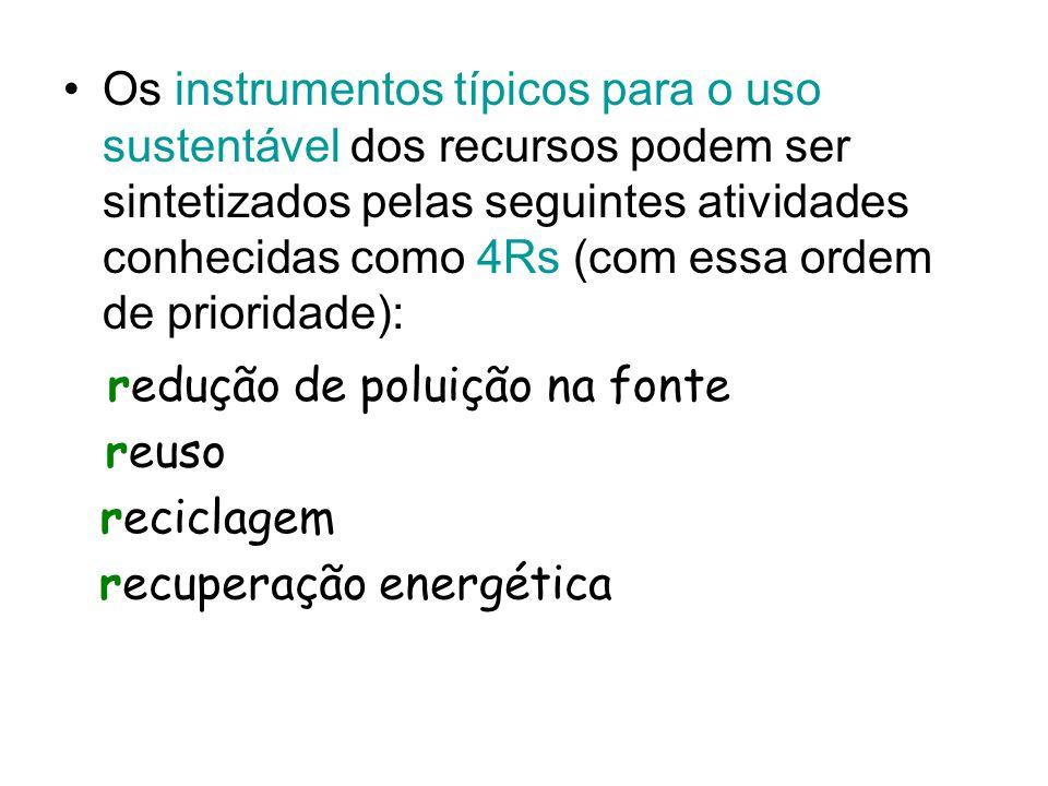 Os instrumentos típicos para o uso sustentável dos recursos podem ser sintetizados pelas seguintes atividades conhecidas como 4Rs (com essa ordem de prioridade):