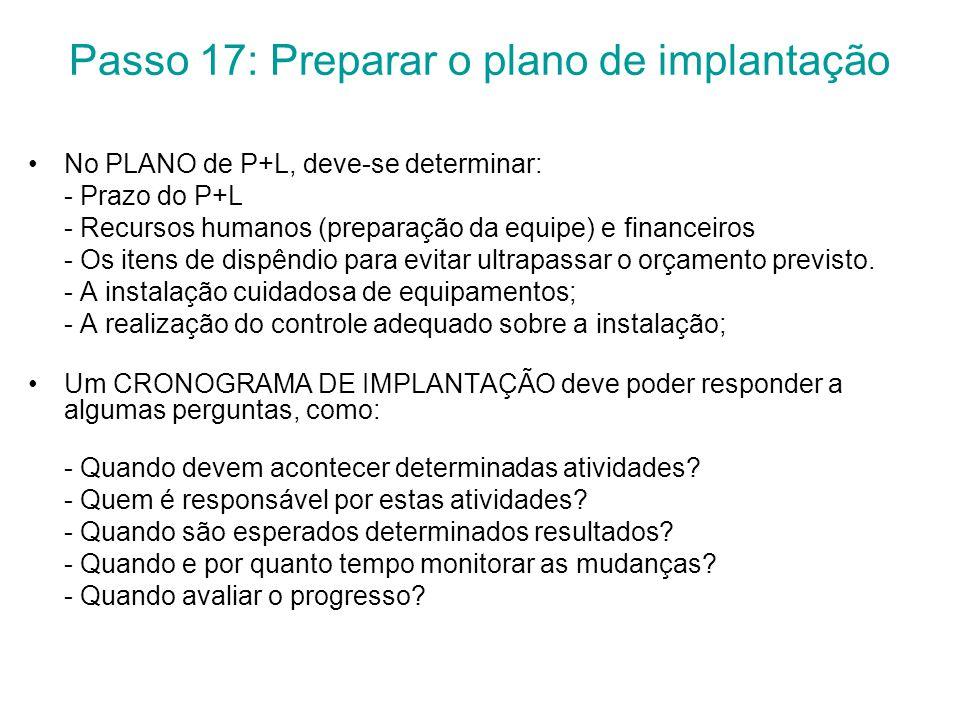 Passo 17: Preparar o plano de implantação