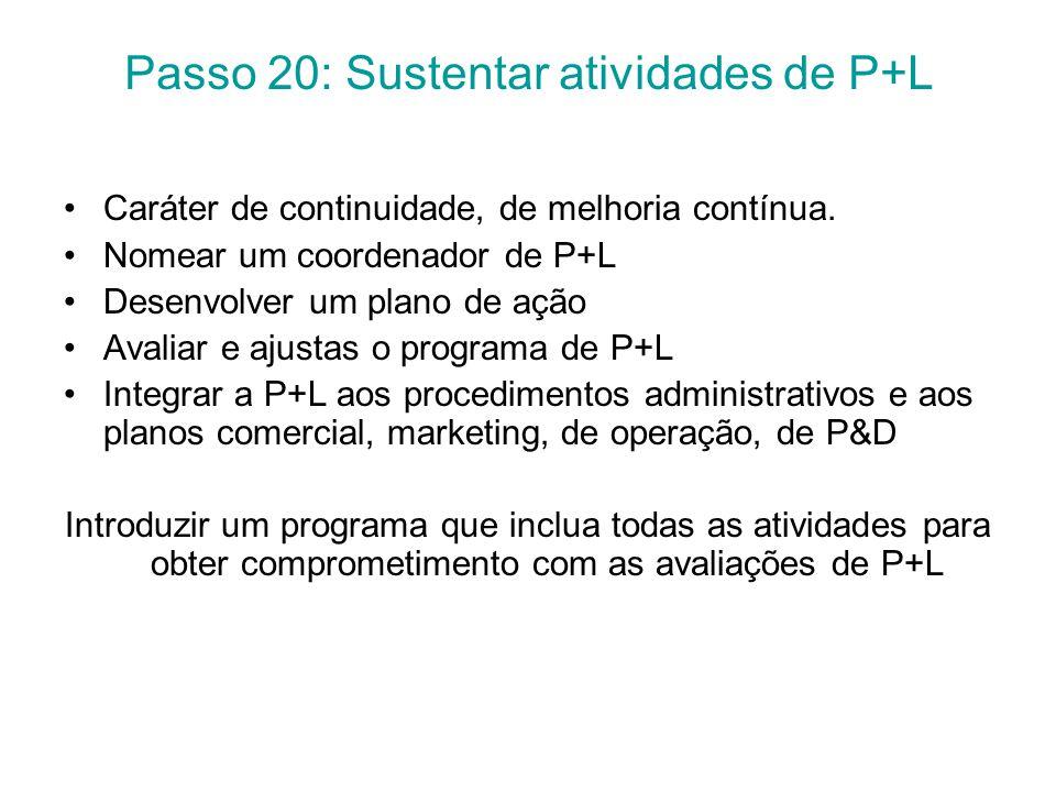 Passo 20: Sustentar atividades de P+L